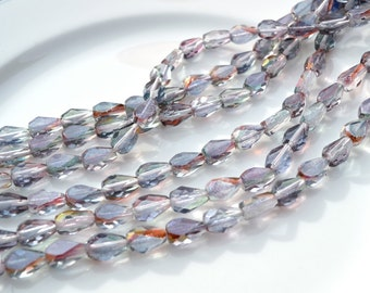 Thunder Grey Faceted FIre Polish Flat Teardrop Beads  25