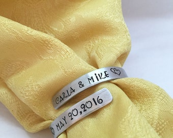 Personalized Napkin Rings - Wedding Gift - Anniversary Gift - Custom Napkin Rings - Bride Groom Gift - Wedding Party Favors