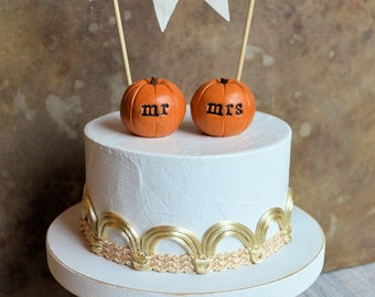 Wedding cake topper... orange mr mrs pumpkins and fabric LOVE banner included ... shabby chic rustic woodland fall autumn table decor