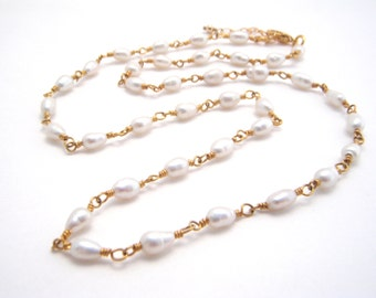White Pearl Strand Necklace, Rosary Style, Gold, Wedding, Wire Wrapped, Dainty Necklace