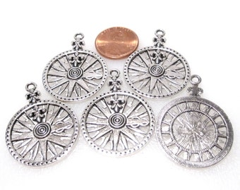 On Sale 10 Compass Rose Charms, Compass Charm, Antique Silver 32x26mm in Multi packs of 5 or 25 charms, C 370