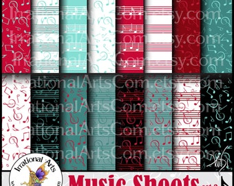 Music Sheets set 3 Kitsch - 16 digital scrapbooking papers with music notes and sheet music in Red and Aqua {Instant Download}