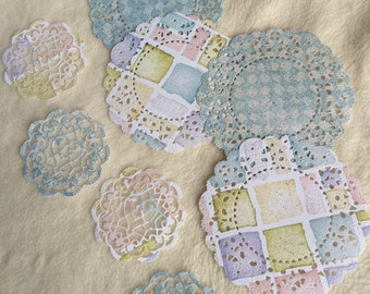 Paper Doilies...8 Piece Set of Very Pretty French Pastry and Sophia's Heart Paper Doilies Scrapbook Embellishments