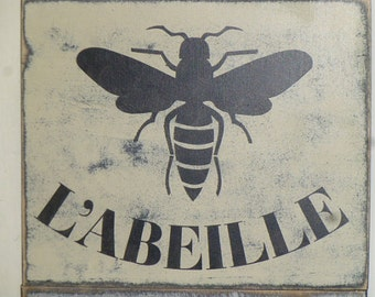 FRENCH QUEEN BEE/ L'Abielle crown sign / Queen bee sign / bee with crown / hand painted sign / French home decor / French sign / Paris chic