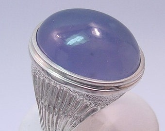 Huge custom Sterling silver ring set with a 23x18mm Blue Chalcedony
