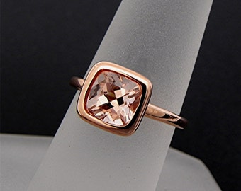 AAAA Peach Morganite   7x7mm   Cushion Cut Natural Untreated 1.50 carats in a 14K Rose gold engagement ring. MMM