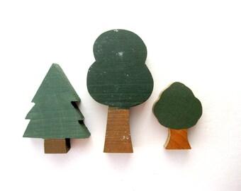 Three Vintage Wood Trees