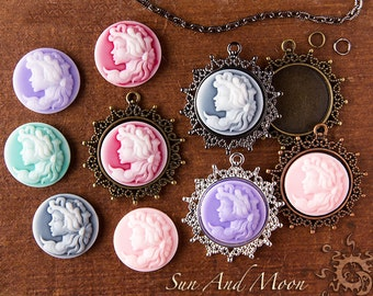 10 DIY KIT 25mm Princess Cameo Setting New Bouquet Pendant Necklace Craft Kit - Choose Your Own Colors and Finishes