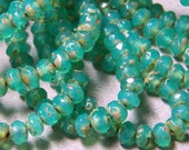 Czech Opal Jade with Picasso 3x5mm Faceted Fire Polished Glass Rondelle Beads (30) 0919