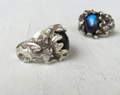 Mystic Dragon Ring, Sterling Silver and Labradorite Ring, Victorian Edwardian Gryphon Estate Jewelry C&S