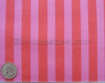 "Free Spirit 1/2"" TENT STRIPE Tart Pink Red - Tula Pink Elizabeth - Cotton Quilt Fabric by the Yard, Half Yard, or Fat Quarter"