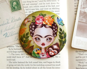 Frida Querida Pocket Mirror - 3 inches Round