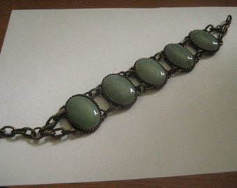 Antiqued Brass  Link Bracelet with 25x18mm Adventurine Cabochons