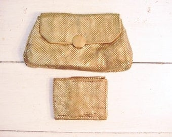 Vintage WHITING and DAVIS gold-tone metal mesh clutch purse and matching bi-fold wallet