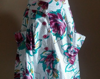 Unique White and Black Polka Dot Skirt with Fushia Floral Print