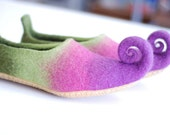 Fairy shoes felted slippers from wool in green pink purple or any other color Custom made pair especialy for you