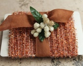 NEW! Copper Metallic Tinsel Trim - Halloween Tinsel String Card - Christmas Holiday Sparkle - 12 Feet Gift Wrap Packaging Trim