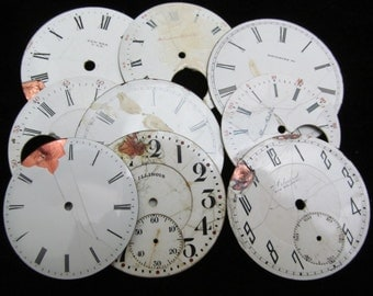 Distressed Shabby Chic  Watch Dials Steampunk Faces Enamel Porcelain GB 86