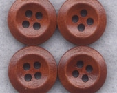 Rusty Brown Buttons Simple Classic Wooden Buttons 15mm (5/8 inch) Set of 8 /BT265