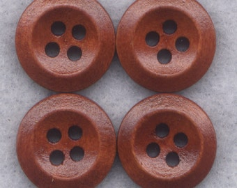 Rusty Brown Buttons Simple Classic Wooden Buttons 15mm (1/2 inch) Set of 8 /BT265