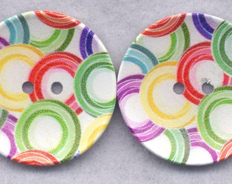 Rainbow Rings Wood Buttons Wooden Buttons Circles 40mm (1 5/8 inch) Set of 2/BT298