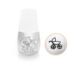 Stroller Design Stamp, Metal Stamp, 6mm, Carbon Steel Design Stamp, ImpressArt Design Stamps, SC155-C-6MM, baby stamps