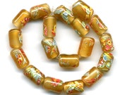 Vintage Japanese Millefiore Beads, Golden Honey Color Glass, Large Holes, Tube Shaped 18 Pcs.
