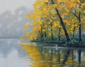 LISTED ARTIST Oil PAINTING Autumn Landscape River Painting trees by G.Gercken