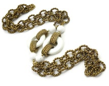 Costume Jewelry Brass Chain and White Lucite Necklace - Long Necklace, 1970s