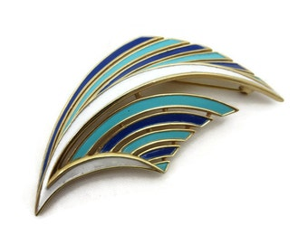 Costume Jewelry - Trifari Enamel Brooch, Blue, Turquoise, White