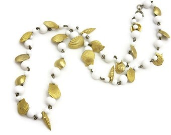 Shell Necklace - White Beaded, Gold Sea Shells, Summer Mermaid Jewelry