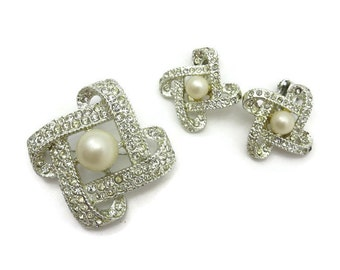 Costume Jewelry Set - Rhinestone Brooch and Clip Earrings, Faux Pearl, Demi Parure