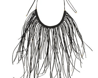 Black Leather Fringe Necklace, Handcrafted Fringe Boho Style Woman Necklace, Light And Airy Statement Necklace, Night-out Must Have Jewelry