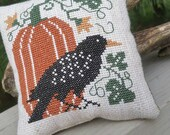 Crow & Pumpkin Cross Stitch Mini Pillow for Fall  READY to SHIP