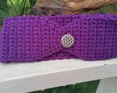 Head Warmer Crochet Earmuff Dark Purple with Silver Button