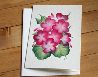 Handmade Greeting Card with Handpainted Pink Flowers