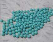 Vintage 5mm Opaque Turquoise Blue Flat Back Round Glass Cabs or Stones (12 pieces)