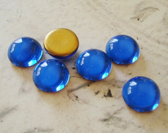 13mm Sapphire Blue Preciosa Gold Foiled Flat Back Round Glass Cabs (6 pieces)