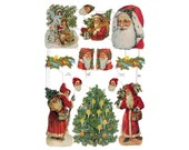 Made In Germany Lithographed Victorian Santa Claus Paper Die Cut Scraps  7218