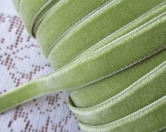 3 Yards Plush Velvet Ribbon in Lichen Green 3/8 Inch Wide