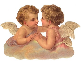 Germany Large Lithographed Die Cut Paper Scrap Victorian Angels  5152