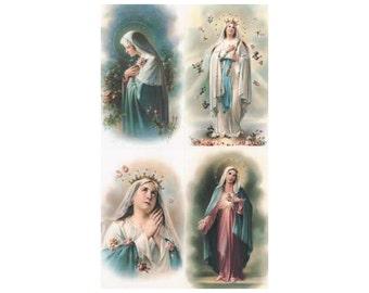 Made In Italy 4 Holy Prayer Cards Of Mary  Sheet F