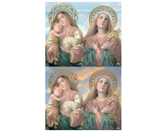 Made In Italy 4 Holy Prayer Cards Of Jesus And Mary  Sheet R