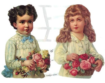 Made In Germany Lithographed Die Cut Victorian Children  7087