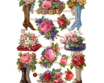 Germany Paper Scraps Lithographed Die Cut Victorian Shoes With Flowers  7350