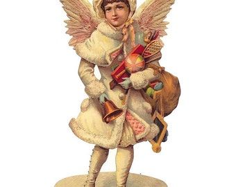 Germany Large Lithographed Die Cut Paper Scrap Victorian Angel Christmas  5151