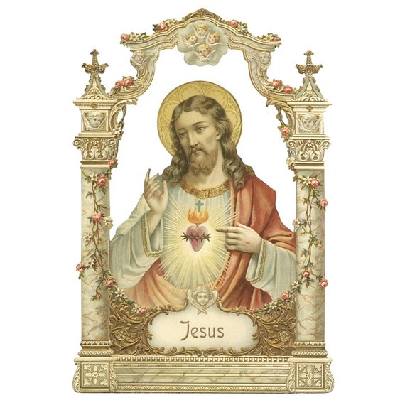 Germany Large Single Lithographed Die Cut Paper Scrap Victorian Jesus Sacred Heart  5145