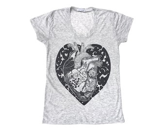 Anatomy of a Heart - Fashion Slouchy fit T shirt - Heather Gray Burnout Shirt