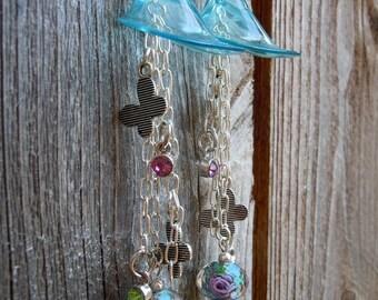 Aqua Blue Calla Lily with Dangles Drop Earrings