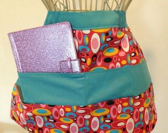 Apron Waist Half Art Craft Vendor Teacher iPad Device Geometric Teal Fabric (6 Pockets)